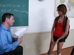 Horny schoolgirl Veronica Rodriguez sucks her teacher