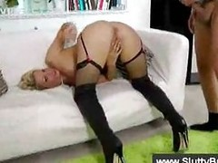 Blonde in stockings banged by grandpa