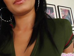 Give Me Pink Adorable brunette masturbation with big toy