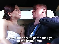 Trio with Morgan Rodriguez hammered in her wedding dress in the limo