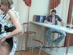 Raunchy aged French sheila pulls up her skirt for frenzied screwing on table