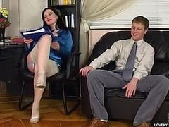 White-stockinged brunette hair caught vibrator toying at work object humped hard