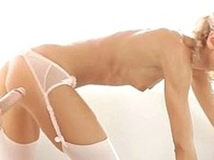 White-headed in white lingerie bends abandon be advantageous to a everlasting dick
