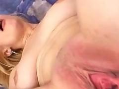 Blonde slattern dirty pussy stretching closeups