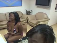 Two african cum sucker suck a hard white dick