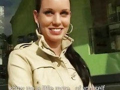 Shy euro sweetie rides flannel in public