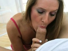 Horny momma Sara James takes a lucky man`s blarney in hermouth like a sausage