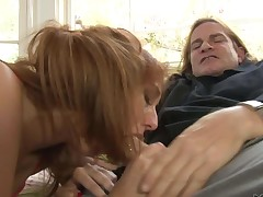 Topless redhead Rose Red with sweet boobs gives head to an older guy. Long haired man Evan Stone gets his beefy dick polished with her soft lips. Nasty Rose Red blows like a champ