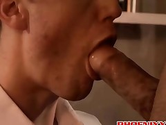 Horny JP and Spencer anal drilling hard till they all cum