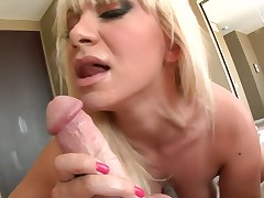 Blonde Lea Lexis with big breasts gets turned on then face hole pumped by Jonni Darkko