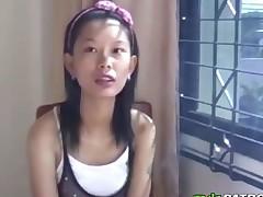 Skinny dilettante Asian chick blowjob long schlong