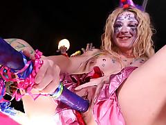 Leya masturbates at the stripclub