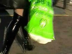 Shiney black boots and undershorts
