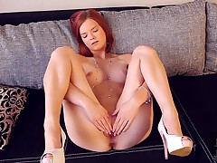 Denisa does striptease before masturbating with desire