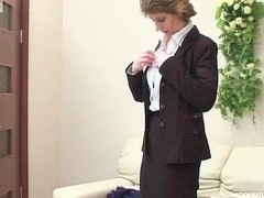 Aged businesswoman getting sore bawdy fissure beneath their way petticoat for a guy to drill
