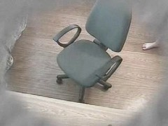 Closed cam masturbation in a office chair