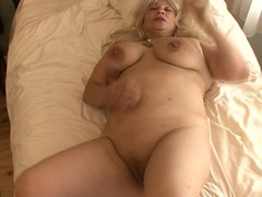 Golden-Haired large titted mama getting wet first of all her sofa