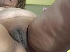 Older slut soaking in front of burnish apply camera