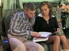 Hawt sec in tan pantyhose giving jaw-breaking pantyhosejob previous to doggystyle fuck