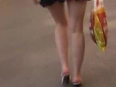 Honey relieves herself in skirt in public