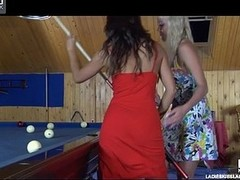 Sapphic hotties learn the ropes of lez giving a kiss and play on the billiard table