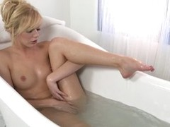 Hayden Hawkens toys her pussy after taking a bath