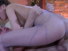 Bitchy gal treats her guy as a cuckold making him see her pantyhose fuck