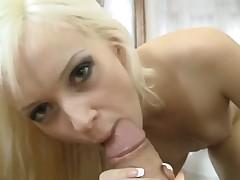 Blonde porn girl Dolly Spice sucks Rocco Siffredis ram rod with wild enthusiasm