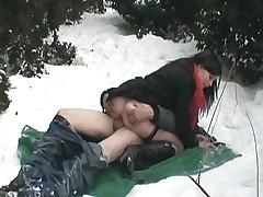 Randy couple fuck in public