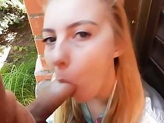 Blonde outdoor blowjob cim Lady from 1fuckdatecom
