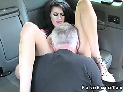 Breasty petite Brit anal banged in fake cab