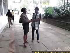 Amateur lesbian ebony chicks licking washroom