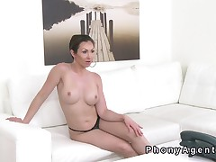 Busty dilettante sucks and fucks in panties in audition