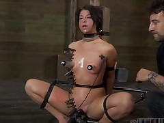 Tying up angel for wild castigation
