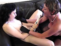 MILF plays with her stepdaughter's pussy in the shop
