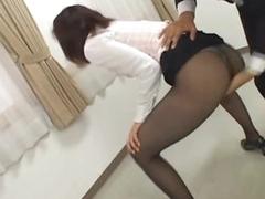 Asian Secretary Masturbating With respect to Her Boss' Office