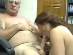 Juvenile girl rides an old man's big cock
