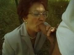 Granny Susanne Sucks and Fucks Outdoor