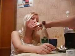 Very drunk russian blonde fuck