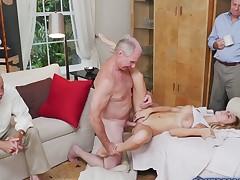 Hot blonde Molly Mae fucks with a grandpa