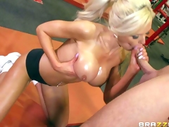 Nina Elle is his adorably sexy busty personal tutor that shows her huge boobs eagerly. Topless sporty blonde with wet big mangos finds his dick hard and gives head eagerly. Then he licks her tasty pussy and her firm ass