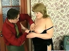 Aged Womans Breasts Being Played With