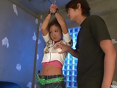 Bad little Oriental angel receives punished by two dicks