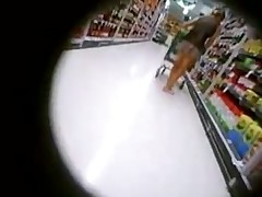 No pants upskirt at the supermarket