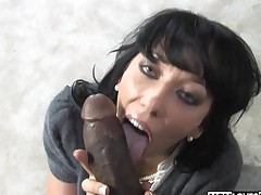 Busty mom Alia Janine plays with a BBC and son is watching